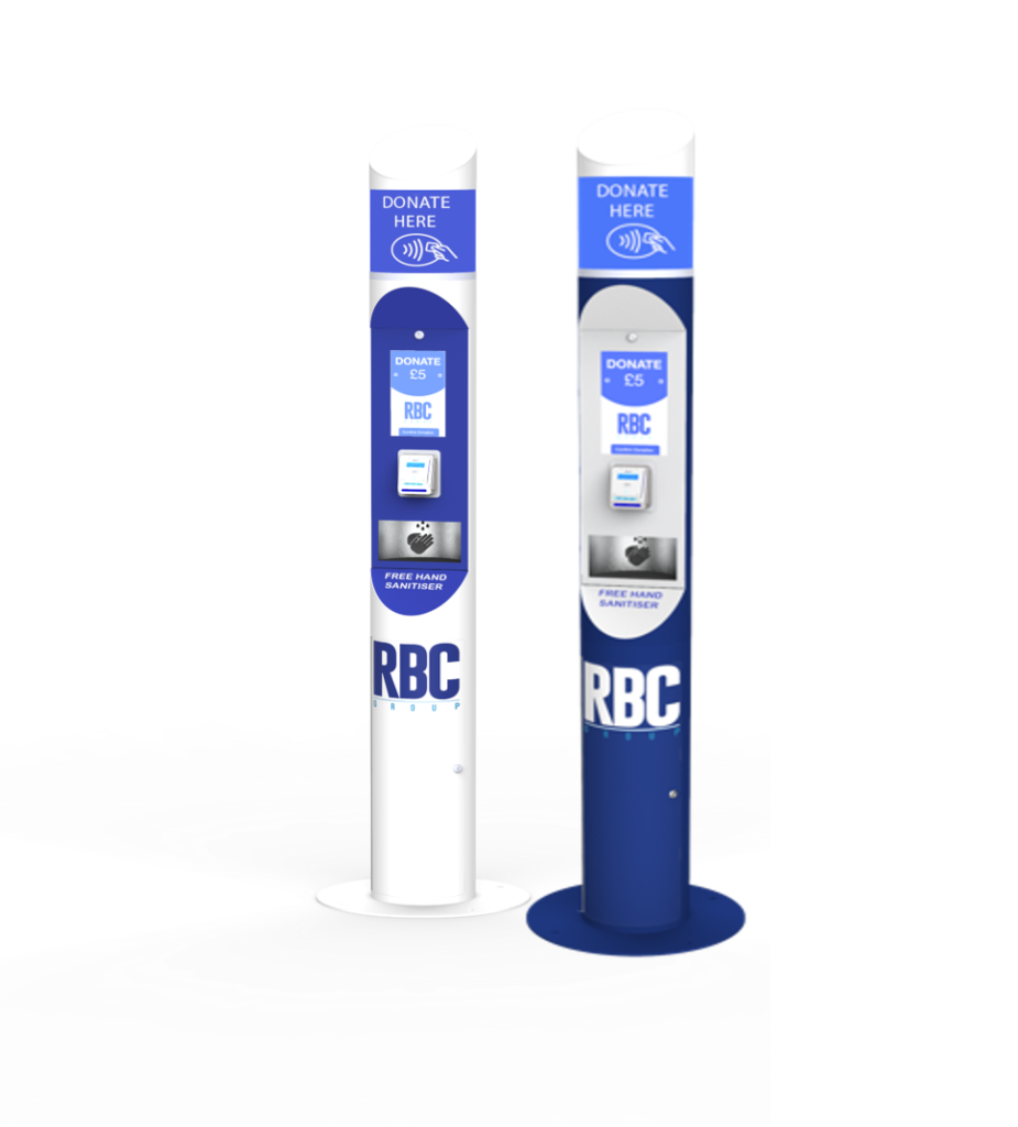 RBC Group's iGive Donation Kiosk in different branding styles