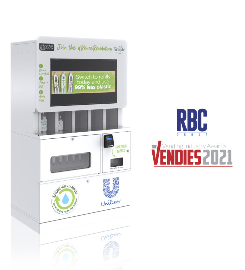 """The Refill Station Machine, nominated for two Vendies Awards: """"Best Machine Innovation"""" and """"Corporate Social Responsibiliy""""."""